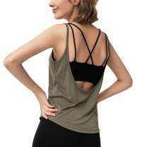 Women's Workout Tops Open Back T- Shirts Activewear Yoga Gym Clothes Cami Tank Tops