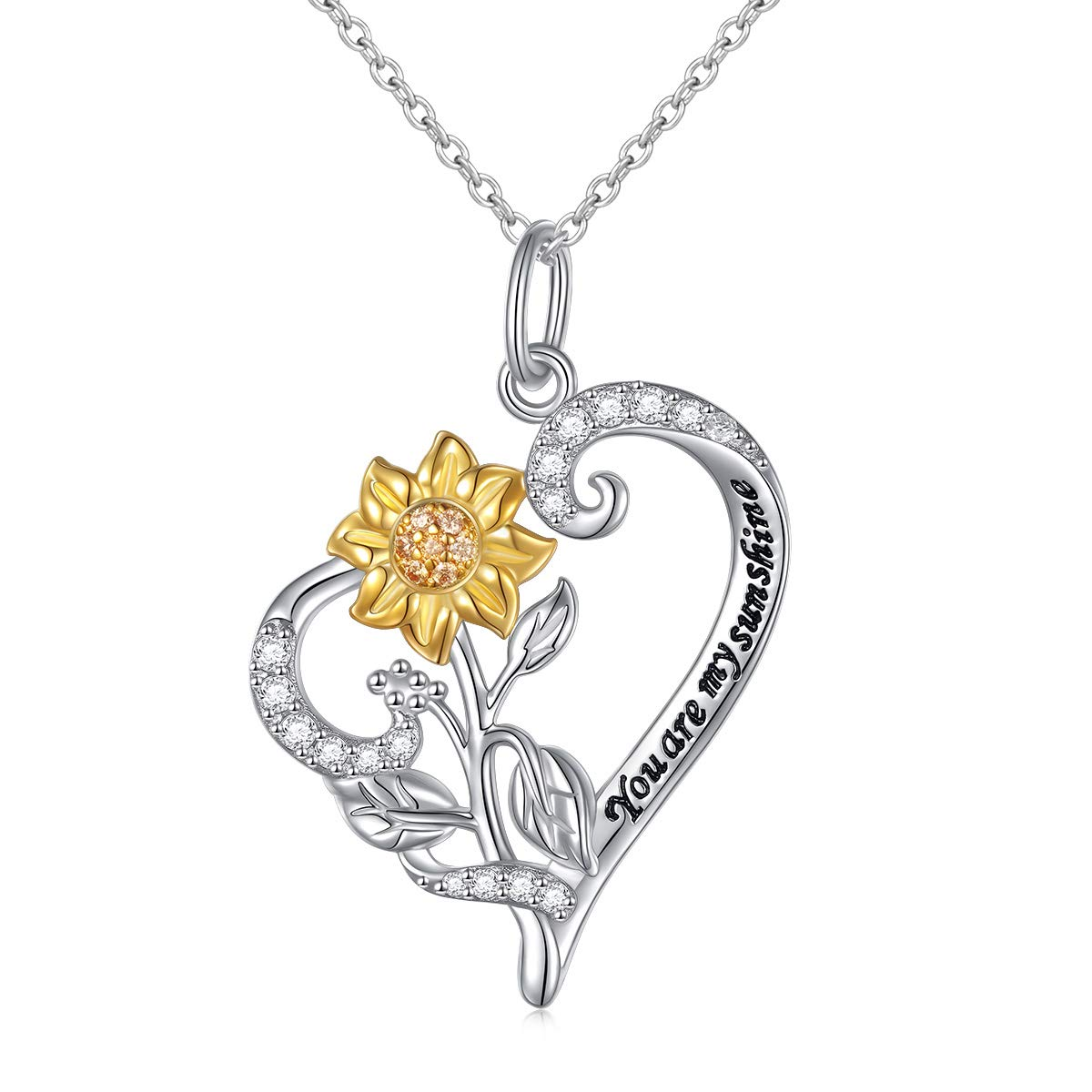 """Sterling Silver You Are My Sunshine Sunflower CZ Heart Pendant Necklace 18"""" for Girls Women"""