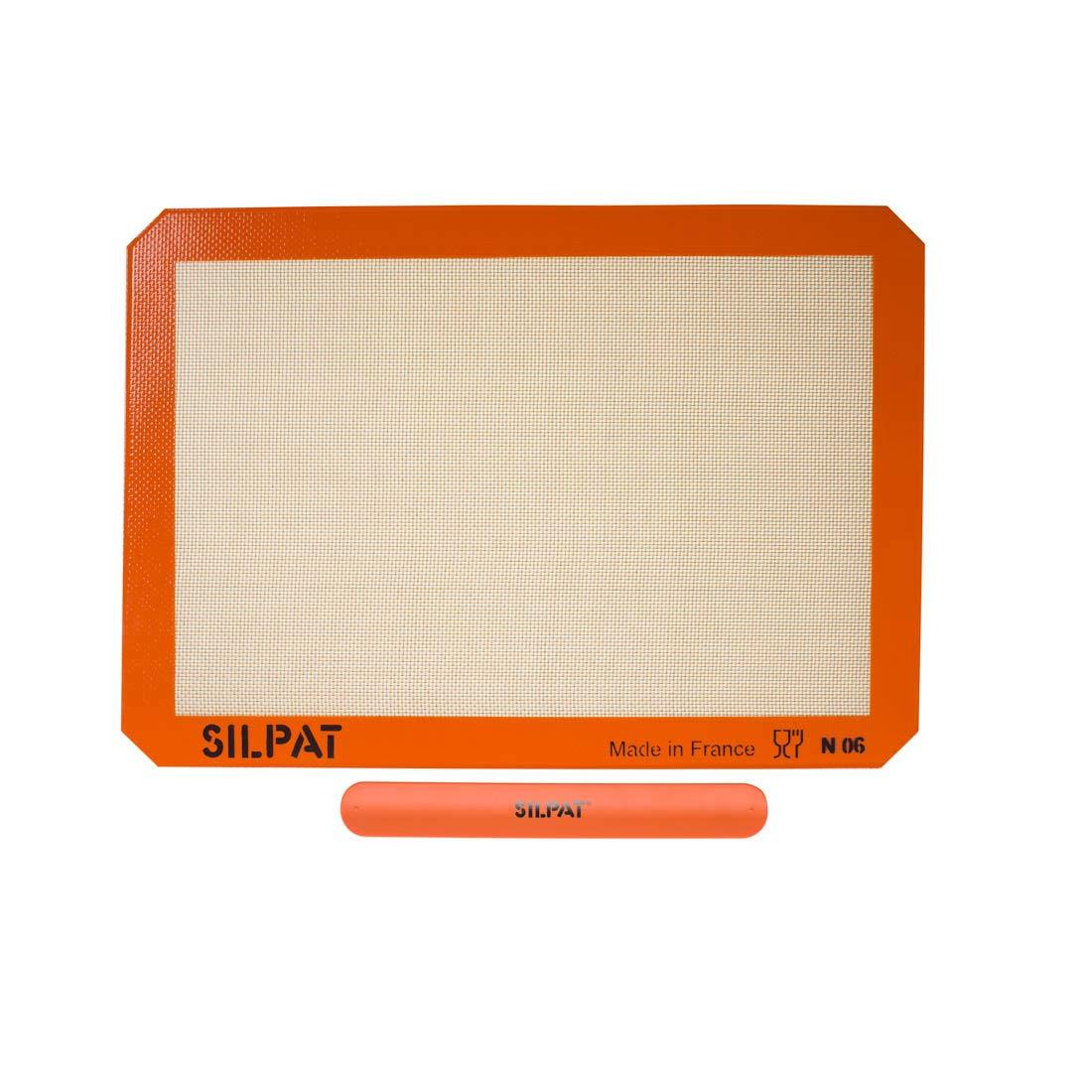 "Silpat AE420295-40 Premium Non-Stick Silicone Baking Mat with Storage Band, Half Sheet Size, 11-5/8"" x 16-1/2"""