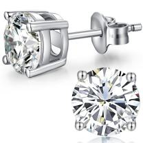 Sterling Silver Cubic Zirconia Stud Earrings, Round Fake Diamond Stud Earrings for Men and Women 4-8mm - jiamiaoi