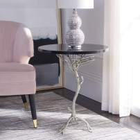 Safavieh Home Collection Anastasia Brass and Iron End Table, Black/Silver Granite