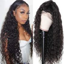 RECOOL 360 Water Wave Lace Frontal Wigs Human Hair Brazilian Wet and Wave Human Hair Wigs Pre Plucked With Baby Hair 100% Unprocessed Virgin Human Hair(24 inches, 150% Density 360 Wig)