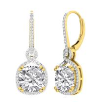 Dazzlingrock Collection 10K 10 MM Each Cushion Lab Created Gemstone & Round Diamond Ladies Dangling Earrings, Yellow Gold