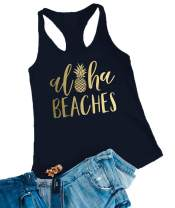 Aloha Beaches Tank Tops Women Bachelorette Party Funny Pineapple Graphic Tees Vest Summer T Shirt Top