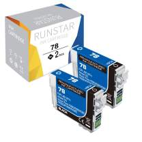 Run Star Remanufactured 78 Black Ink Cartridge Replacement for 78 T078 to use with Artisan 50 Stylus Photo R260 R280 R380 RX580 RX595 RX680 Printer (2-Black)