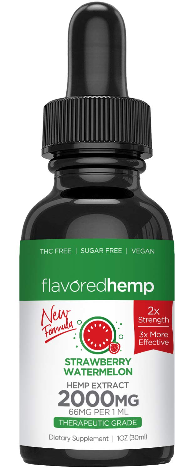 Hemp Oil - 2000 MG - Strawberry Watermelon Flavor - 100% Organic Hemp Extract Drops - Natural Pain Stress Anxiety Relief & Improves Overall Health - Grown & Made in The USA
