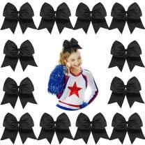 "DEEKA 12PCS 8"" Large Cheer Hair Bows Ponytail Holder Handmade for Teen Girls Softball Cheerleader Sports-Black"