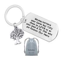Step Dad Keychain,Appreciation Step Father Key Chain Jewelry Gifts Thank You Gift for Step Dad