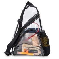 Clear Sling Bag Stadium Approved Transparent Crossbody Shoulder Backpack Bag for Men and Women (Black)