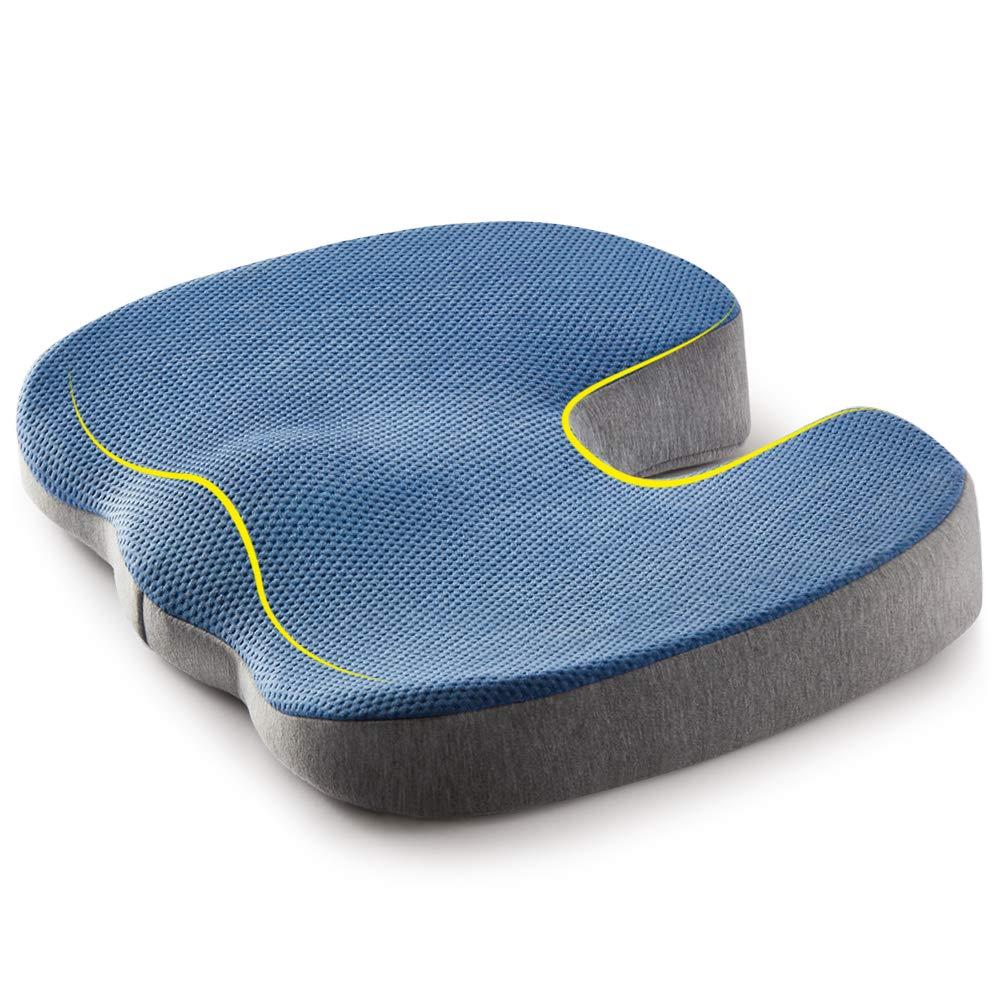 jiaao Coccyx Seat Cushion - Orthopedic Memory Foam Cushion for Tailbone, Sciatica, Back Pain Relief | Office Chair & Car Seat, Washable Cover (U Shape)