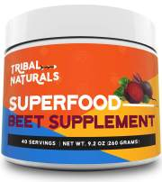 Tribal Naturals Superfood Pre Workout Powder - 9.2oz Beet Powder Nitric Oxide Booster - Super Beets Pre Workout Supplements Powder Drink Good for 40 Servings - Beet Juice Preworkout for Men & Women