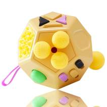 VCOSTORE 12 Sides Fidget Cube, Dodecagon Fidget Toy Dice Stress and Anxiety Relief Portable for Children and Adults with ADHD ADD OCD Autism (Yellow)