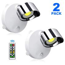 SUNVP LED Closet Lights Battery Operated Wireless Puck Lights with Remote Control, Accent Lights Dimmable Under Cabinet Lighting with Rotatable Light Head Stick on Anywhere(Cold White 6000k, 2 Pack)