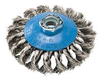 Walter 13H414 Saucer-Cup Knot-Twisted Brush – 4 in. Carbon Steel Wire Brush with 5/8-11 in. Arbor Hole. Surface Finishing Supplies