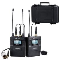 Comica CVM-WM300(C) 96-Channels UHF Professional Dual Wireless Lavalier Lapel Microphone System for Canon 5DII/5DIII, 6D, Panasonic GH4/GH5,XLR Camcorder Camera& Smartphone(394-foot Range)