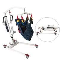 Hi-Fortune Patient Lift Electric Foldable Hydraulic Body Lift, Assembling-Free and Heavy-Duty Battery-Powered with Low Base, 450lb Weight Capacity with Medium Full Mesh Sling