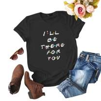 ZSIIBO Women's Casual T Shirt Funny Letter Print Graphic Tees Cute Tops
