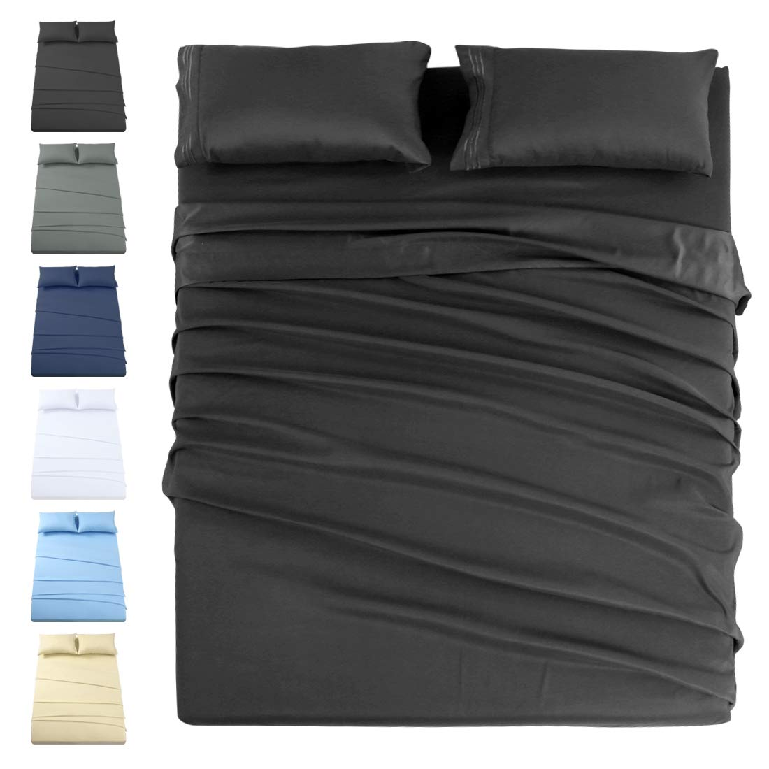 INGALIK Premium Bed Sheet Set 3 Piece 120 GSM Brushed Microfiber,1800 Series Hotel Luxury Bedding Sheets,Ultra Soft,Comfy,Fade Resistant,No Shrinkage,Hypoallergenic,Deep Pocket(Dark Grey,Twin)