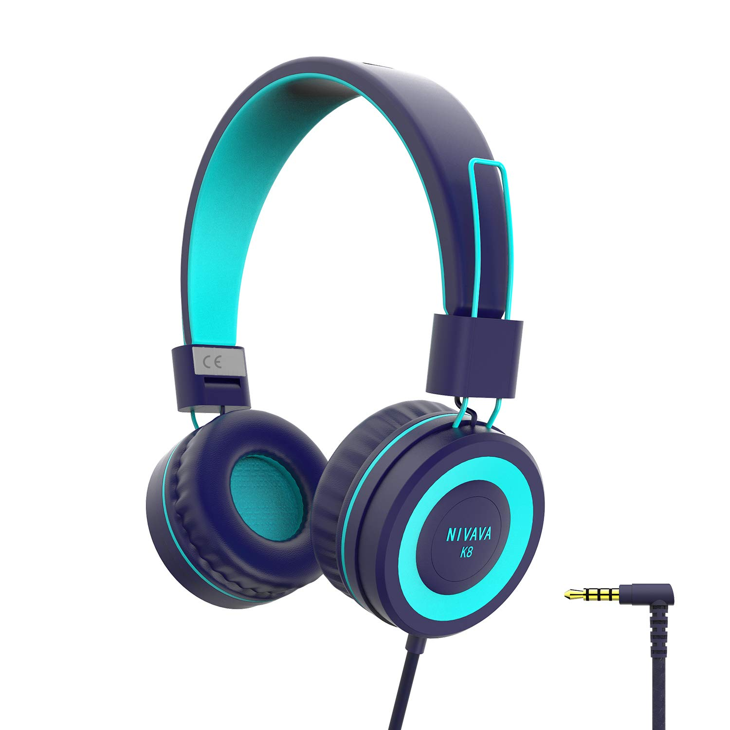 NIVAVA K8 Kids Headphones for Children Boys Girls Teens Wired Foldable Lightweight Stereo On Ear Headset for iPad Cellphones Computer MP3/4 Kindle Airplane School(Navy/Teal)