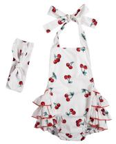 Baby Girl Romper Vintage Floral Bubble Outfit Baby Bodysuit with Headband