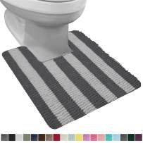 Gorilla Grip Original Shaggy Chenille Square U-Shape Contoured Mat for Base of Toilet, 22.5x19.5, Machine Wash and Dry, Soft Absorbent Contour Carpet Mats for Bathroom Toilets, Charcoal Light Gray
