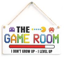 "Meijiafei The Game Room I Don't Grow UP - I Level UP - Gaming Room Sign Great Small Gift Idea for Gamers 10"" X 5"""