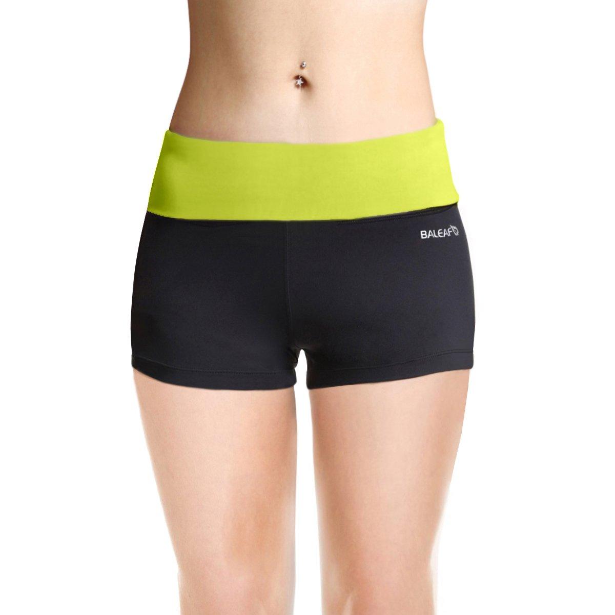 BALEAF Women's High Waist Swim Yoga Volleyball Shorts Running Workout Tennis Athletic Shorts Inner Pocket Lime Punch Size S
