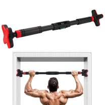 KMM Pull Up Bar for Doorway, Chin Up Bar No Screw Strength Training Pullup Bars Door Frame Pull-up Bar with Locking Mechanism, Level Meter, Adjustable Width Workout Bars for Home Gym Exercise 440LBS