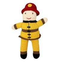 Zubels Baby Hand-Knit Frank The Fireman Plush Doll Toy, All-Natural Fibers, Eco-Friendly, 7-Inch Rattle