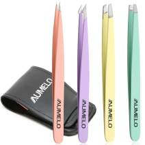 Tweezers for Eyebrow - AUMELO 4-Piece Precision Eyebrow Ingrown Hair Removal Tweezers Set with Leather Case for Women and Girls(Color)