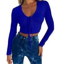 Susupeng Women Sexy Drawstring V Neck Lace Up Front Long Sleeve Warm Tees Short T-Shirt Crop Tops