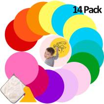 Daily Treasures 14pcs Reusable Dry Erase Circles, White Board Marker 10 Colors Removable Vinyl Dots Wall Decal with Plastic Scraper+Rag for Home Classroom Office Use(11.8inch)