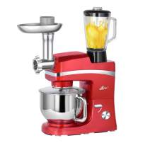 Litchi 5.3 Quart Stand Mixer, 6 Speed Tilt-Head Kitchen Mixer with Meat Grinder, Blender, Sausage Stuffer, Pasta Dies, Dough Hook, Mixing Blade, Flat Beater, Whisk and Pouring Shield, Red