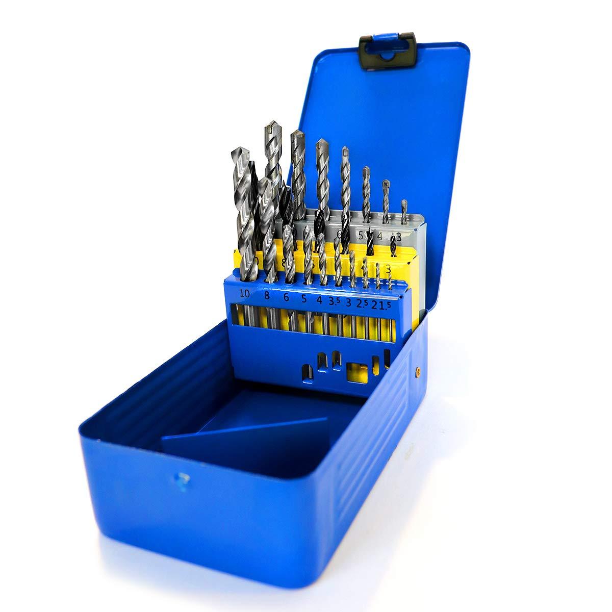 S&R Metal Concrete Drill Bit Set 23 Pcs. Multi-Functional: 10 Metal Drills HSS M2 steel / 7 Concrete Drills / 6 Wood Drills/Bits Set in Metal Box