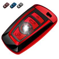 QBUC for BMW Key Fob Cover Protective Case, Key Fob Case for BMW 1/2/3/4/5/6/7 Series Series and for BMW X3 X4 M5 M6 GT3 GT5 Soft TPU Anti-dust Case Shell Keyless Remote Control Smart (Red)