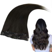 RUNATURE Hair Clip Extensions 12 Inches Color 1B Off Black (3Pcs,50g) Real Human Hair Extensions Invisible Real Human Hair for Women