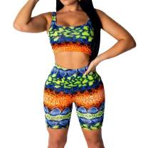 Women's Sexy Bodycon 2 Piece Outfits Crop Top Shorts Pants Jumpsuit Romper Set