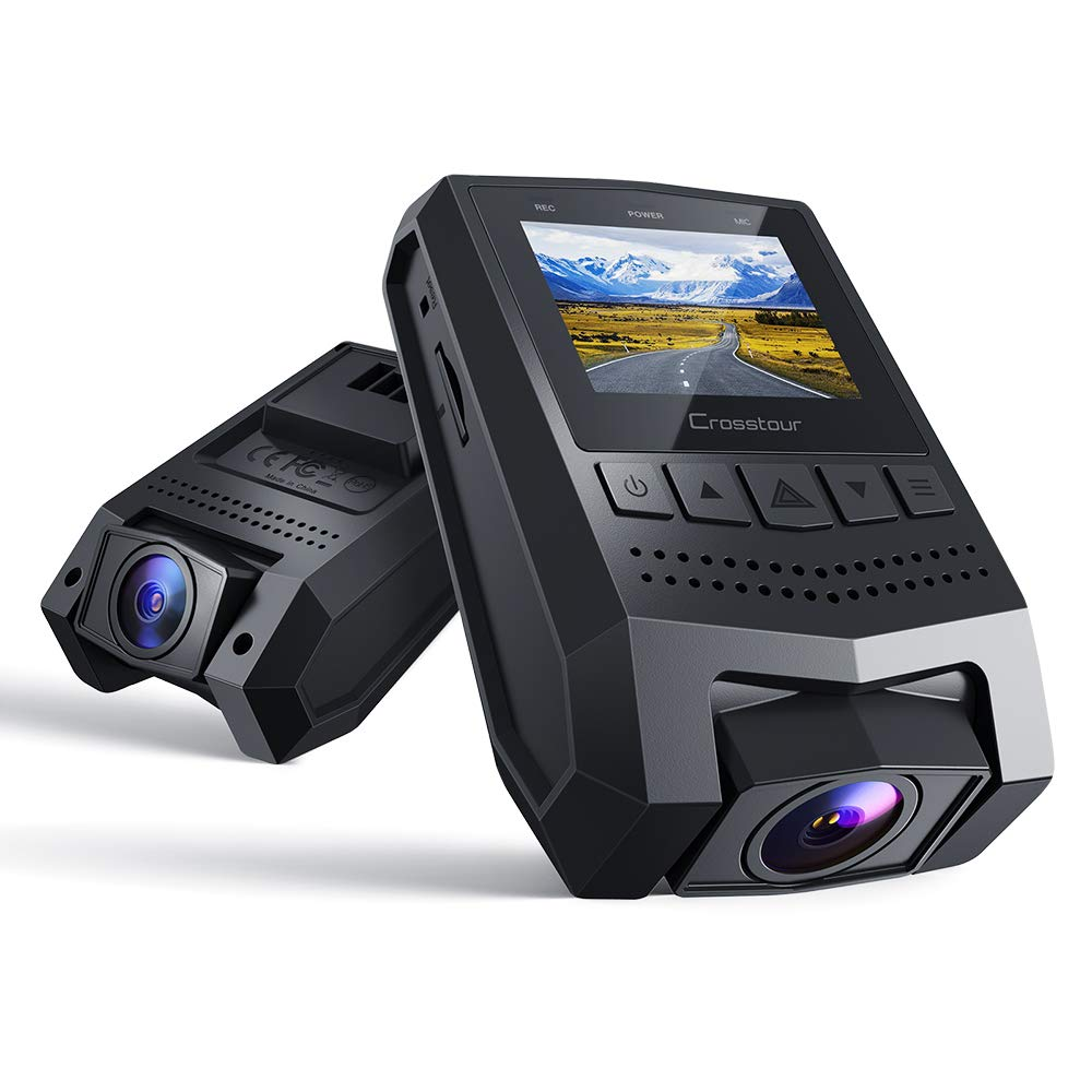 """Crosstour Dash Cam 1080P FHD Mini Dashboard Camera Recorder with 1.5"""" LCD Screen 170°Wide Angle, Parking Mode, Motion Detection, G-Sensor, Loop-Recording and WDR"""