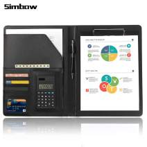 Simbow Padfolio Portfolio Organizer with with Calculator Notepad Pen Document Pockets A4 Size Document Leather Folder for Men Women Business Conference (Normal Black)
