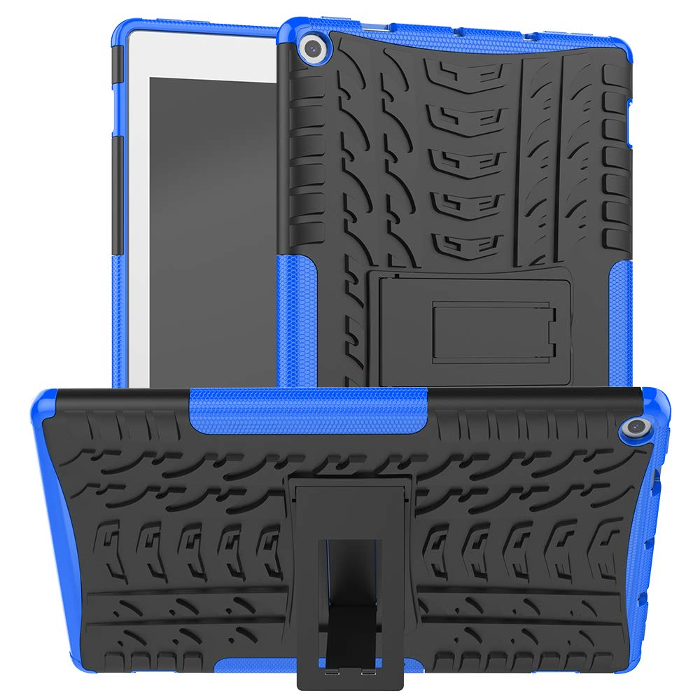 ROISKIN Amazon Fire 10 Tablet Case 2019/2017 Released, [Kickstand Feature] Dual Layer Heavy Duty Shockproof Impact Resistance Protective Case Cover for Kindle Fire HD 10 9th/ 7th Generation -Blue