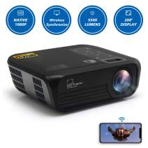 CROSSMIND Native 1080p Full HD Projector, WiFi Smart Portable Projector, 5500 Lumens/200 Display/ Contrast 5000:1 Full HD Theater Projector with Wireless Mirror to iPhone/Android Phones,Black Knight