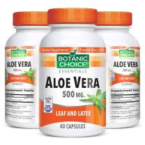 Botanic Choice Aloe Vera Capsules - Adult Daily Supplement - Delivers Crucial Enzymes to Promote Well-Being and Maintain Overall Digestive Wellness 500 mg