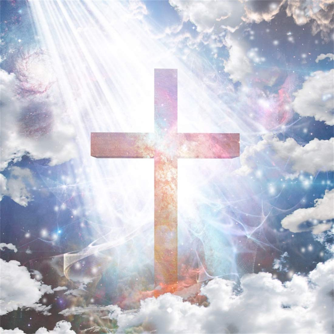 Yeele 6x6ft Jesus Photography Background Cross Photo Backdrop Holy Light Sky White Cloud Glowing Crucifix Blue Sky White Cloud Bokeh Religion Belief Pictures Adult Portrait Photoshoot Props