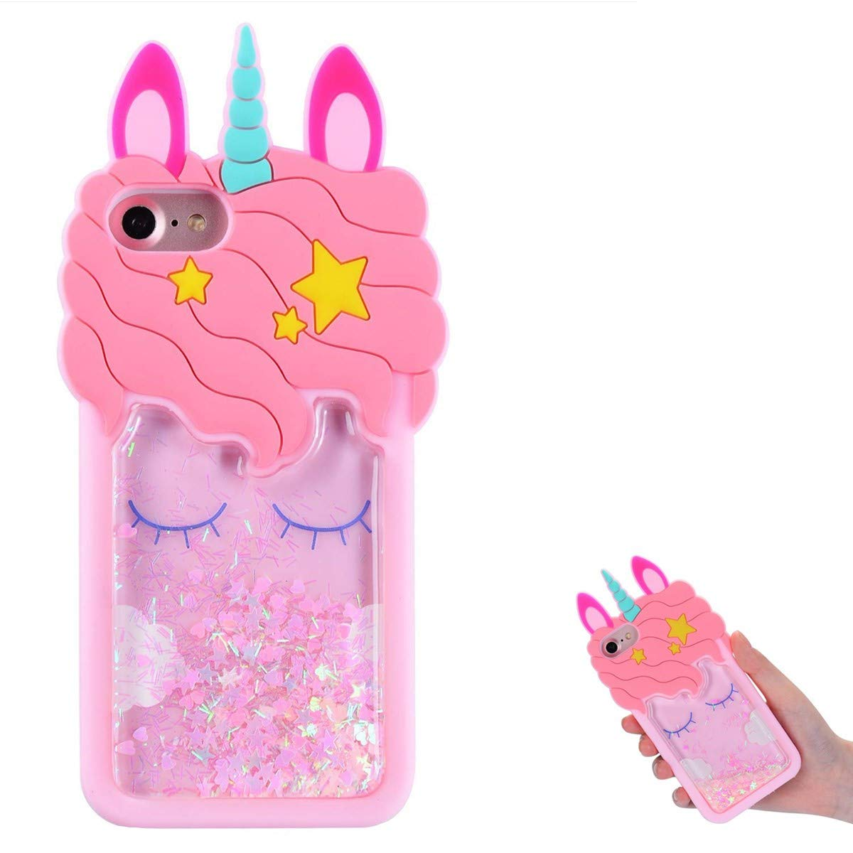 """TopSZ Quicksand Unicorn Bling Case for iPhone 8/7/6/6S 4.7""""Cute Silicone Cool 3D Cartoon Kawaii Animal Cover,Shockproof Soft Skin for iPhone8,Funny Unique Character Cases for Kids Girls Teens(iPhone8)"""