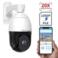 [1080P] PoE+ PTZ Security Camera, NexTrend 7Inch 20X Optical Zoom PTZ Camera, 800ft Night Vision with Audio Record, Long Range PTZ PoE Security Camera for Large Area, Waterproof/Lighting Protection