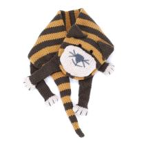 Little Kids Striped Cat Knitted Scarf (w/snap closure) - Brown/Mustard - recommended for ages 3-6/7Y