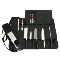 Chef's Knife Bag With 17 Slots Can Holds13 Knives,1 Meat Cleaver, And 3 Utensil Pockets, Multi-function Knife Roll With Handle, Shoulder Strap & Zippered Mesh Pocket Holder