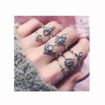 Campsis 7PCS Silver Women Ring Sets Boho Knuckle Stacking Multi Size Rings Crystals Mid Ring for Women and Girls