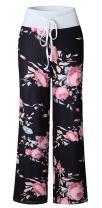 ezShe Women's Printed Pajama Lounge Pants Loose Palazzo Pj Wide Leg Sleepwear