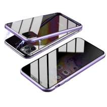 Magnetic Case for iPhone 11 Pro, HONTECH Slim Privacy Magnetic Adsorption FrontandBackTemperedGlasswithBuilt-inScreenProtectorMetalBumperFlipCover 5.8 inch (Light Purple)